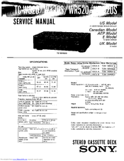 Sony TC-WR520 Manuals