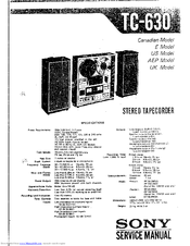 Sony TC-630 Manuals