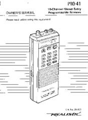 Realistic PRO-41 Manuals
