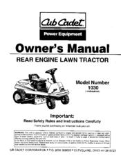 Cub Cadet 1030 Manuals