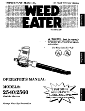 Weed Eater 2560 Manuals