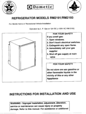 dometic rm2193 wiring diagram trailer lights ireland manuals instructions for installation and use manual