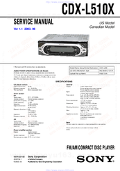 sony cdx l510x wiring diagram bulldog deluxe 500 fm am compact disc player manuals we have 7 available for free pdf download service manual
