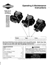 Briggs & Stratton 28Q700 Manuals