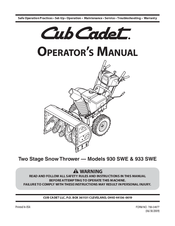 Cub Cadet 933 SWE Manuals