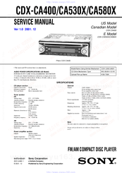 Sony CDX CA400 Compact Disc Changer System Manuals