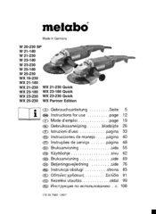 Metabo W 21-230 Manuals