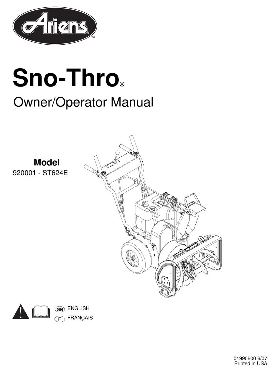 ARIENS SNO-THRO 920001- ST624E OWNER'S/OPERATOR'S MANUAL
