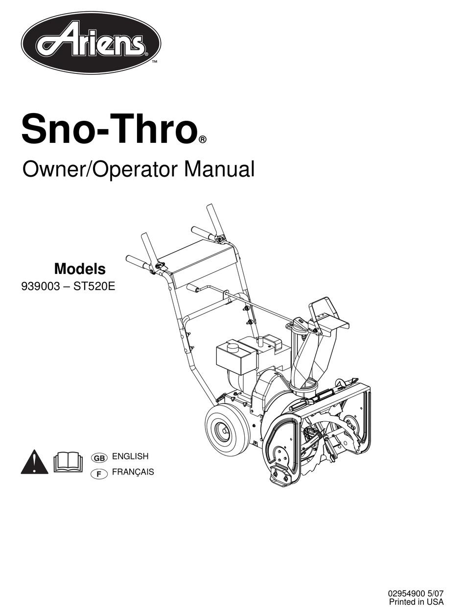 ARIENS SNO-THRO 939003-ST520E OWNER'S/OPERATOR'S MANUAL