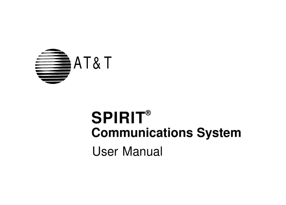 AT&T SPIRIT COMMUNICATIONS SYSTEM USER MANUAL Pdf Download
