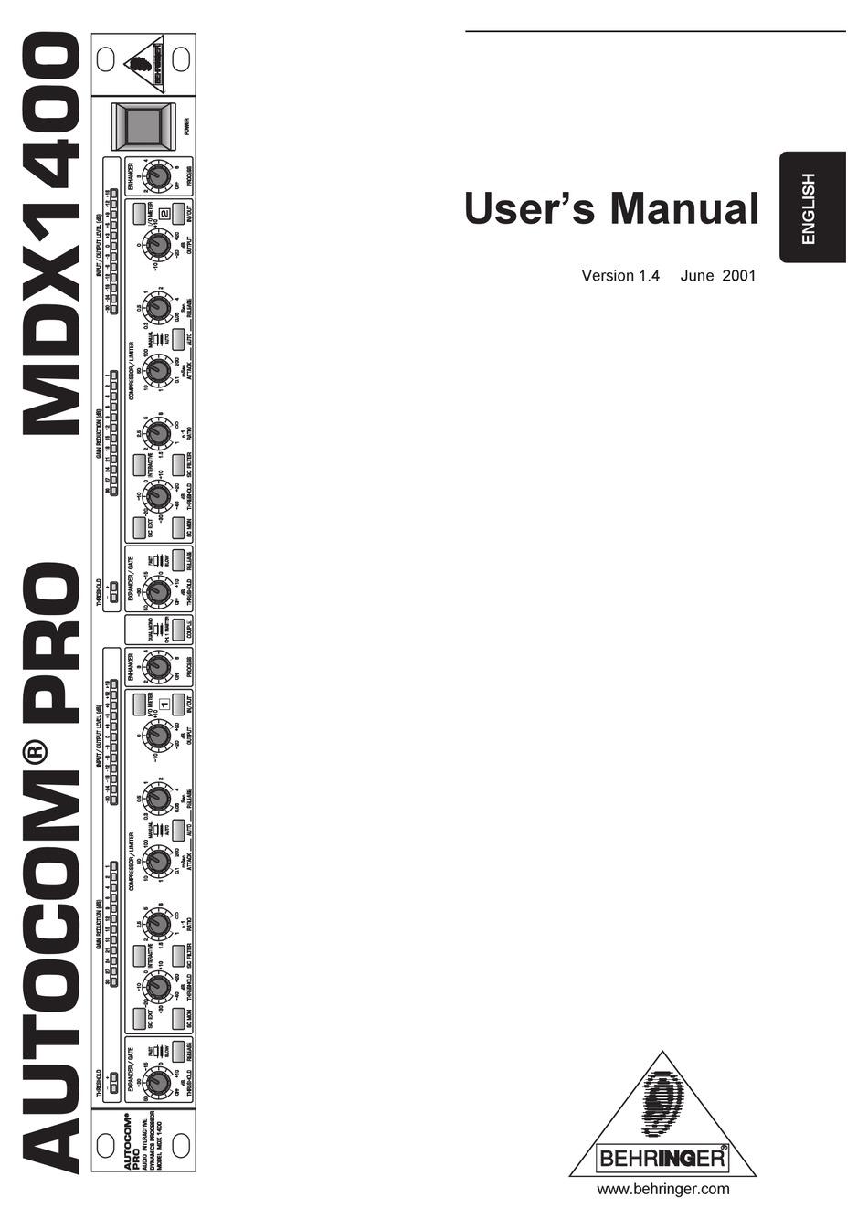 BEHRINGER AUTOCOM PRO MDX1400 USER MANUAL Pdf Download