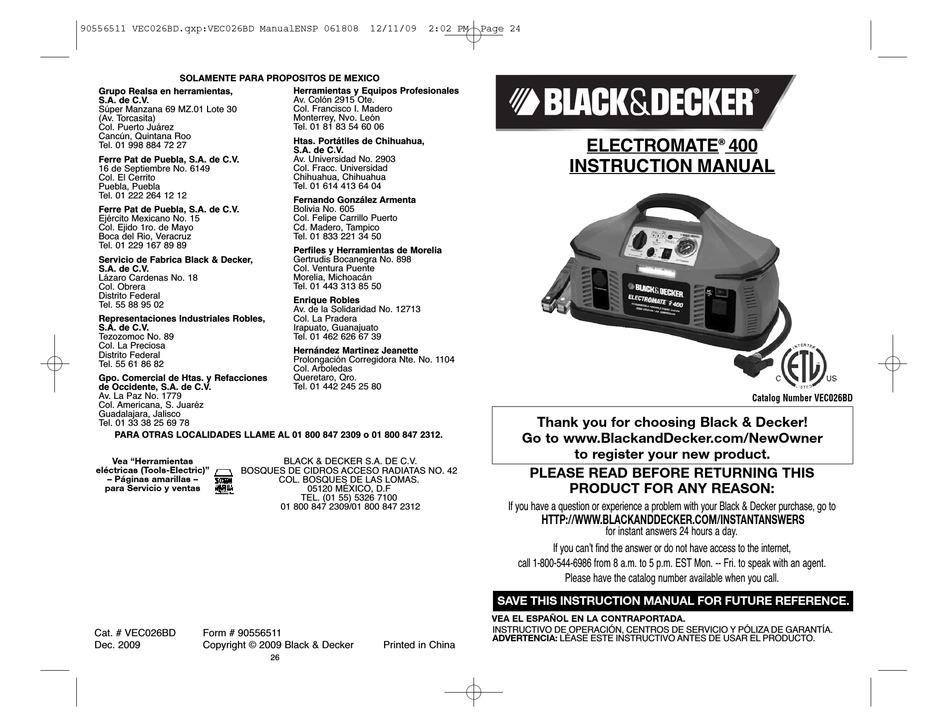 BLACK & DECKER ELECTROMATE 90556511 INSTRUCTION MANUAL Pdf