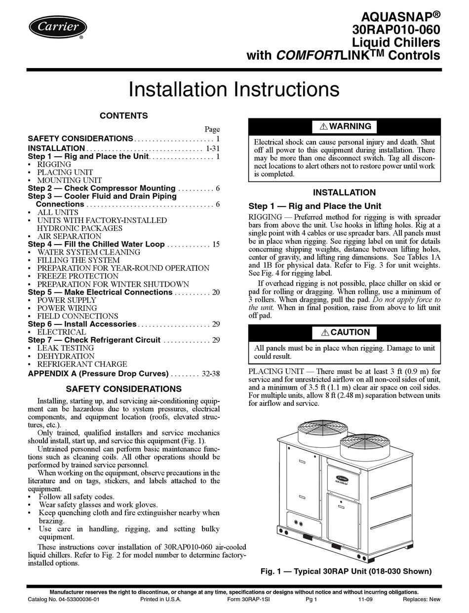 CARRIER AQUASNAP 30RAP010-060 INSTALLATION INSTRUCTIONS