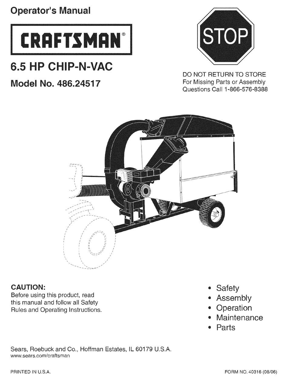 CRAFTSMAN CHIP-N-VAC 486.24517 OPERATOR'S MANUAL Pdf
