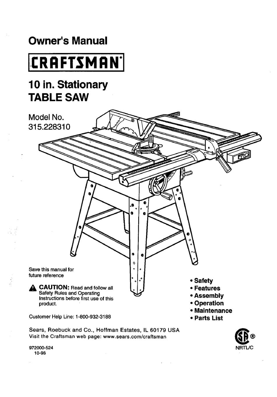 CRAFTSMAN TABLE SAW 315.22831 OWNER'S MANUAL Pdf Download