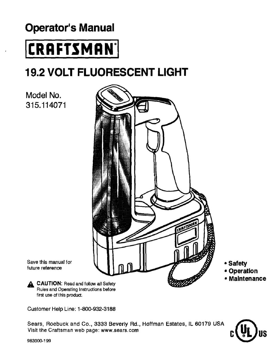 CRAFTSMAN 315.114071 OPERATOR'S MANUAL Pdf Download