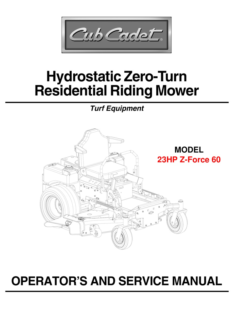 CUB CADET 23HP Z-FORCE 60 OPERATOR'S AND SERVICE MANUAL