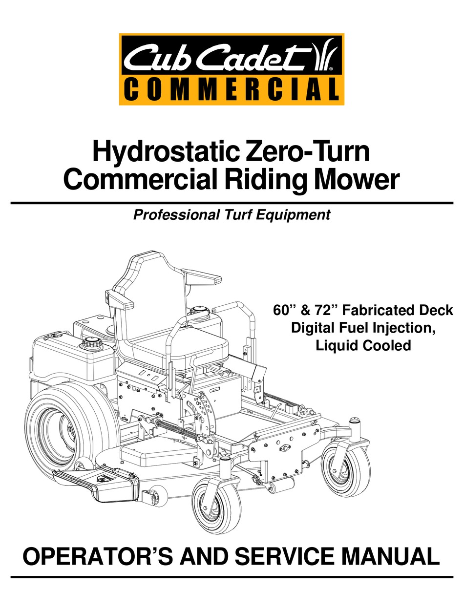 CUB CADET 60-INCH & 72-INCH FABRICATED DECK OPERATOR'S AND