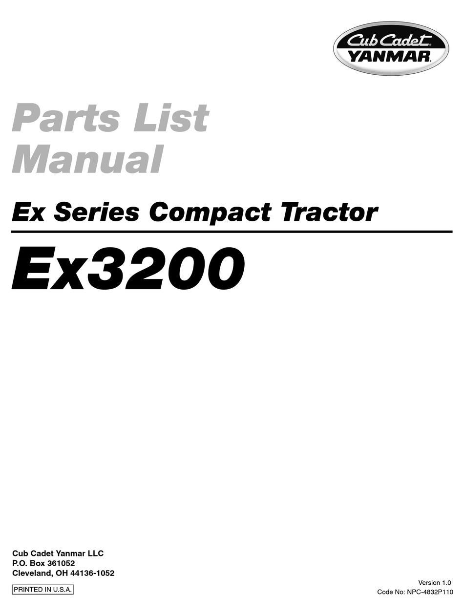 CUB CADET YANMAR EX32002 PART LIST MANUAL Pdf Download
