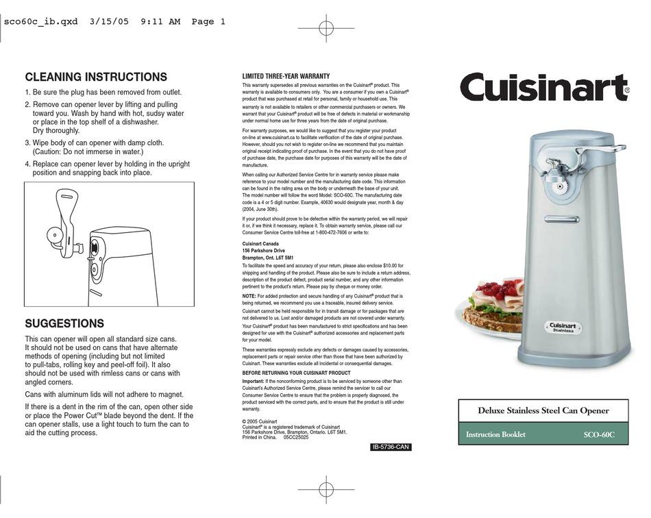 CUISINART SCO-60C INSTRUCTION BOOKLET Pdf Download