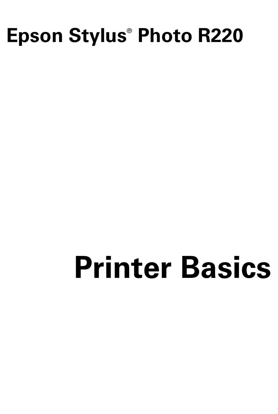 EPSON STYLUS PHOTO R220 PRINTER BASICS MANUAL Pdf Download