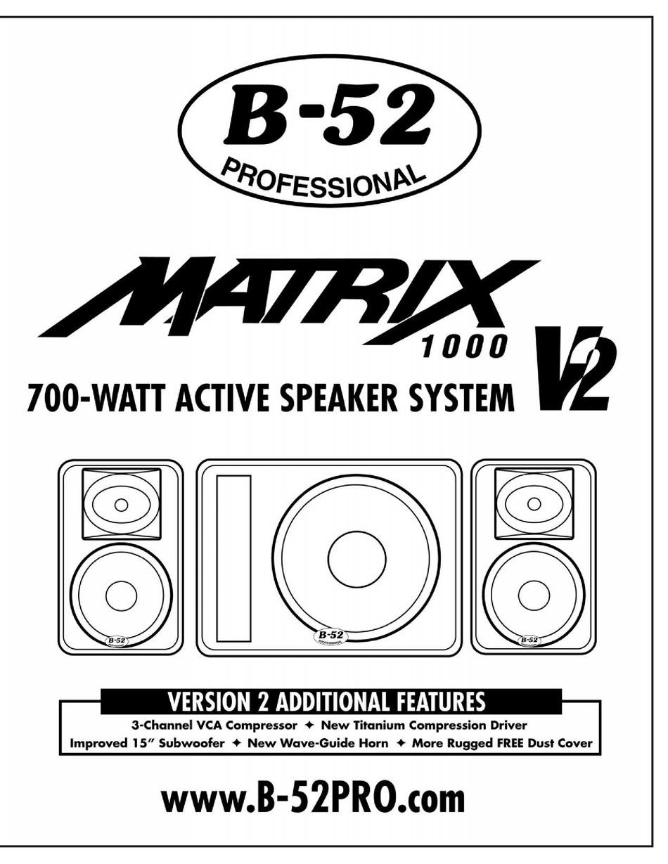 B-52 MATRIX 1000 V2 INSTRUCTION MANUAL Pdf Download