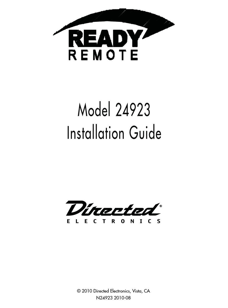 DIRECTED ELECTRONICS READY REMOTE 24923 INSTALLATION