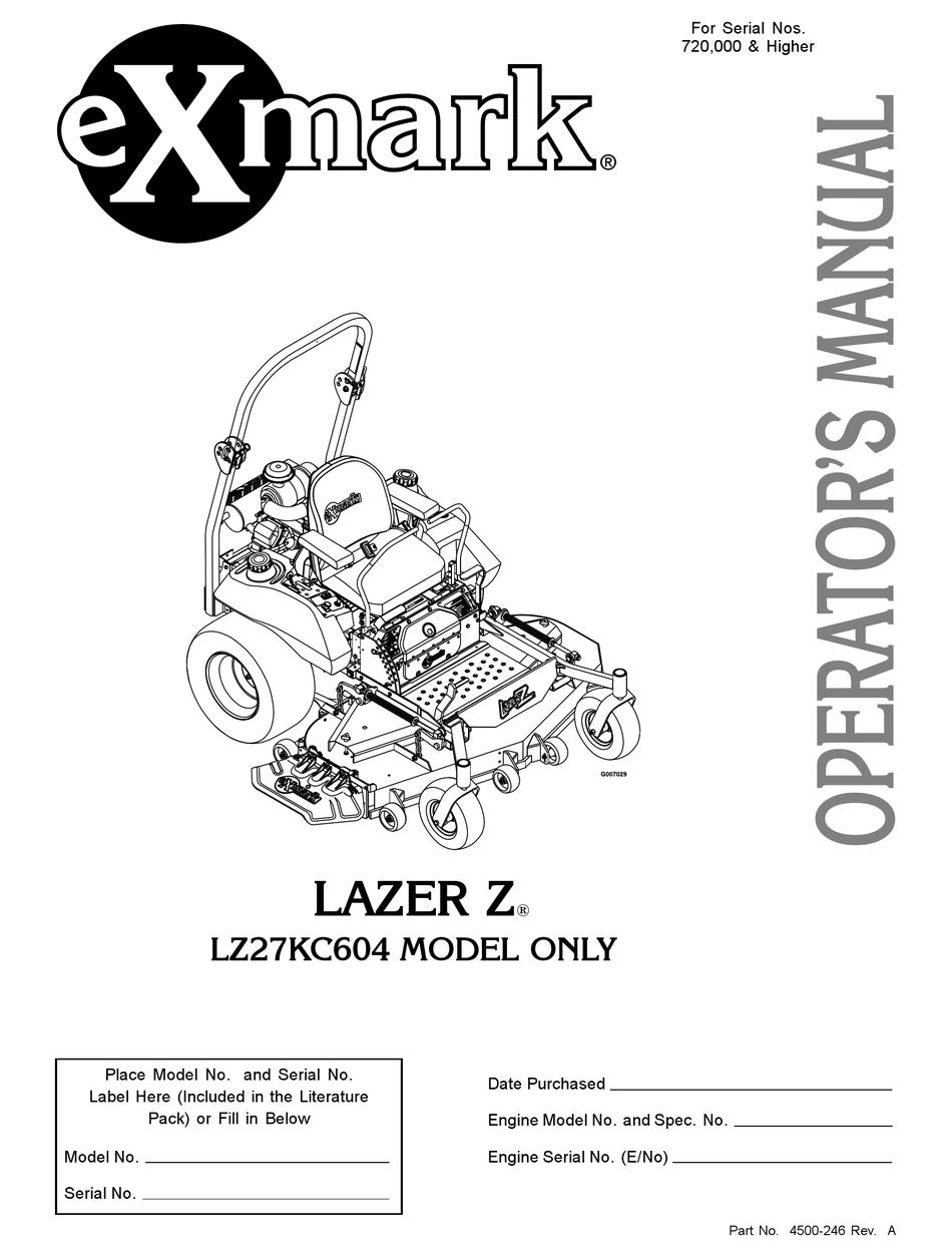EXMARK LAZER Z LZ27KC604 OPERATOR'S MANUAL Pdf Download