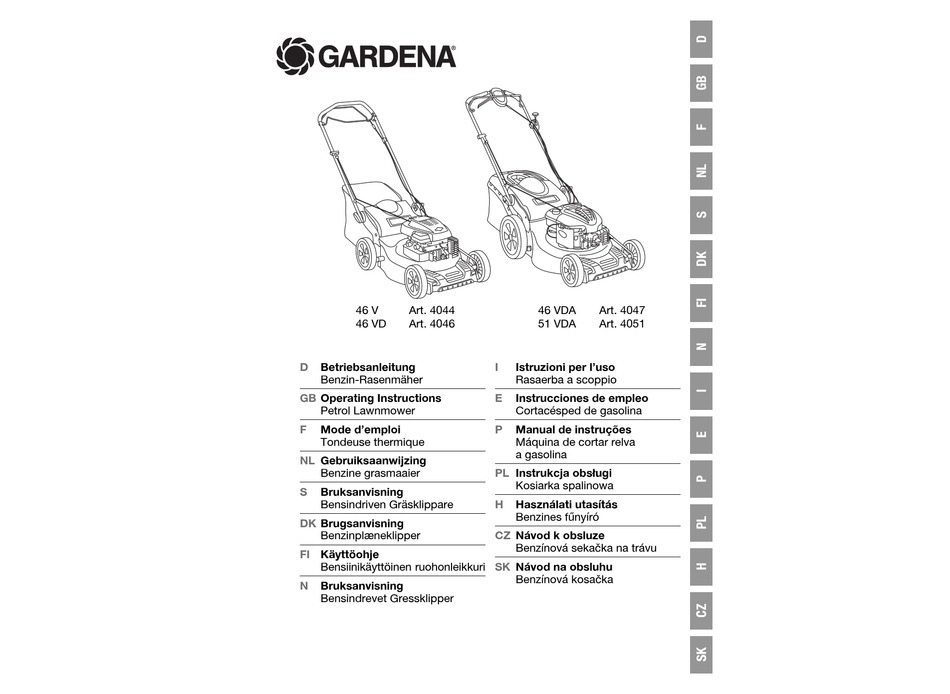 GARDENA 46 V 4044 OPERATING INSTRUCTIONS MANUAL Pdf