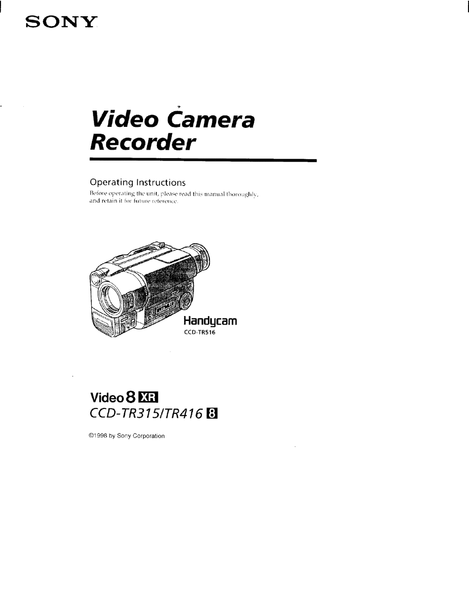 SONY HANDYCAM CCD-TR416 OPERATING INSTRUCTIONS MANUAL Pdf