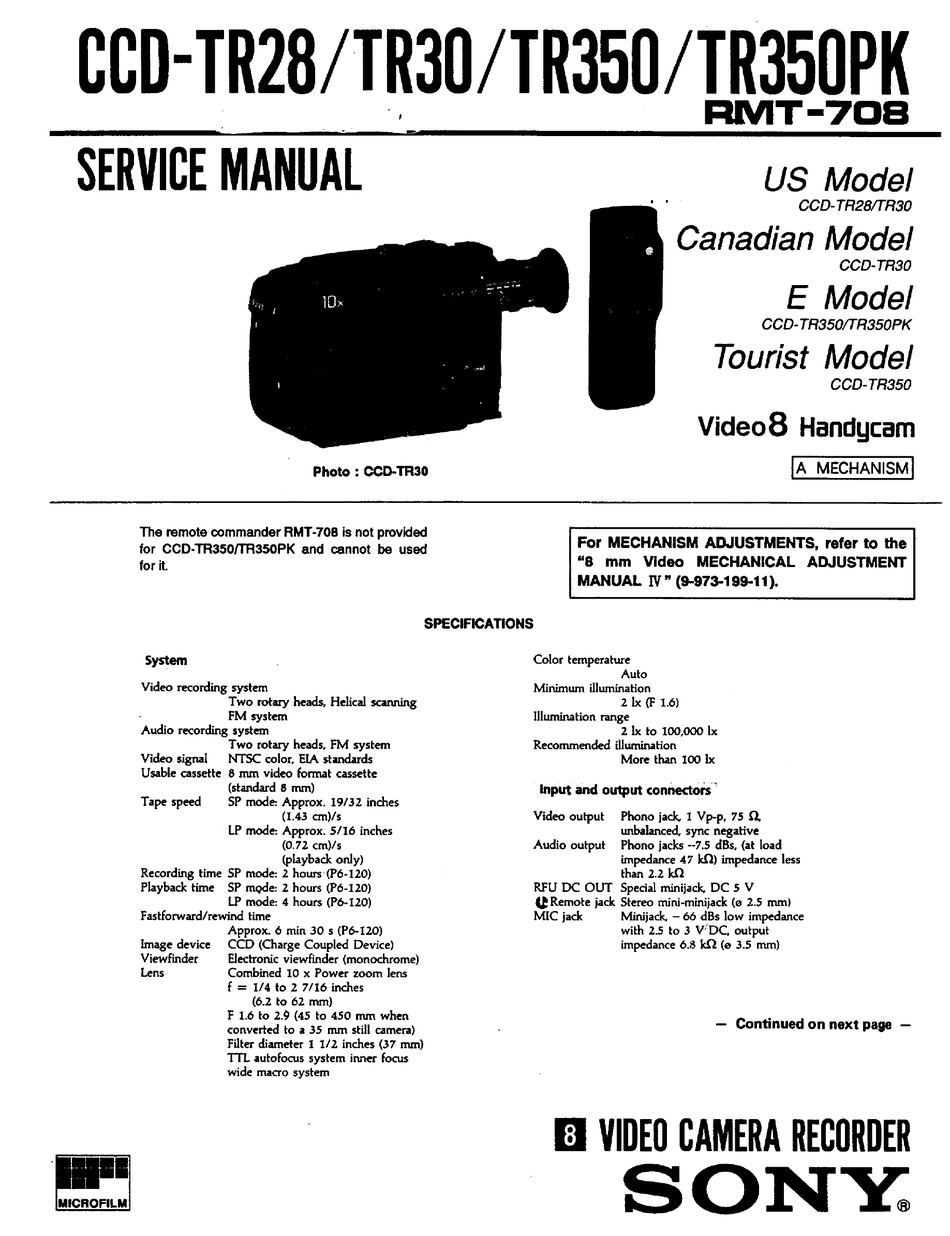 SONY HANDYCAM CCD-TR350PK SERVICE MANUAL Pdf Download