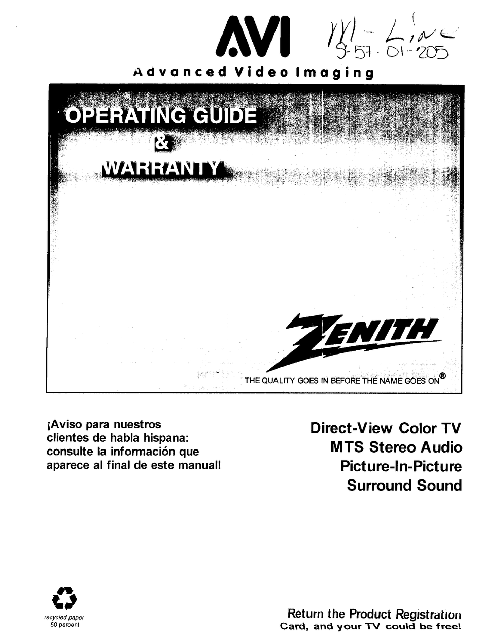 ZENITH M-LINE OPERATION MANUAL & WARRANTY Pdf Download