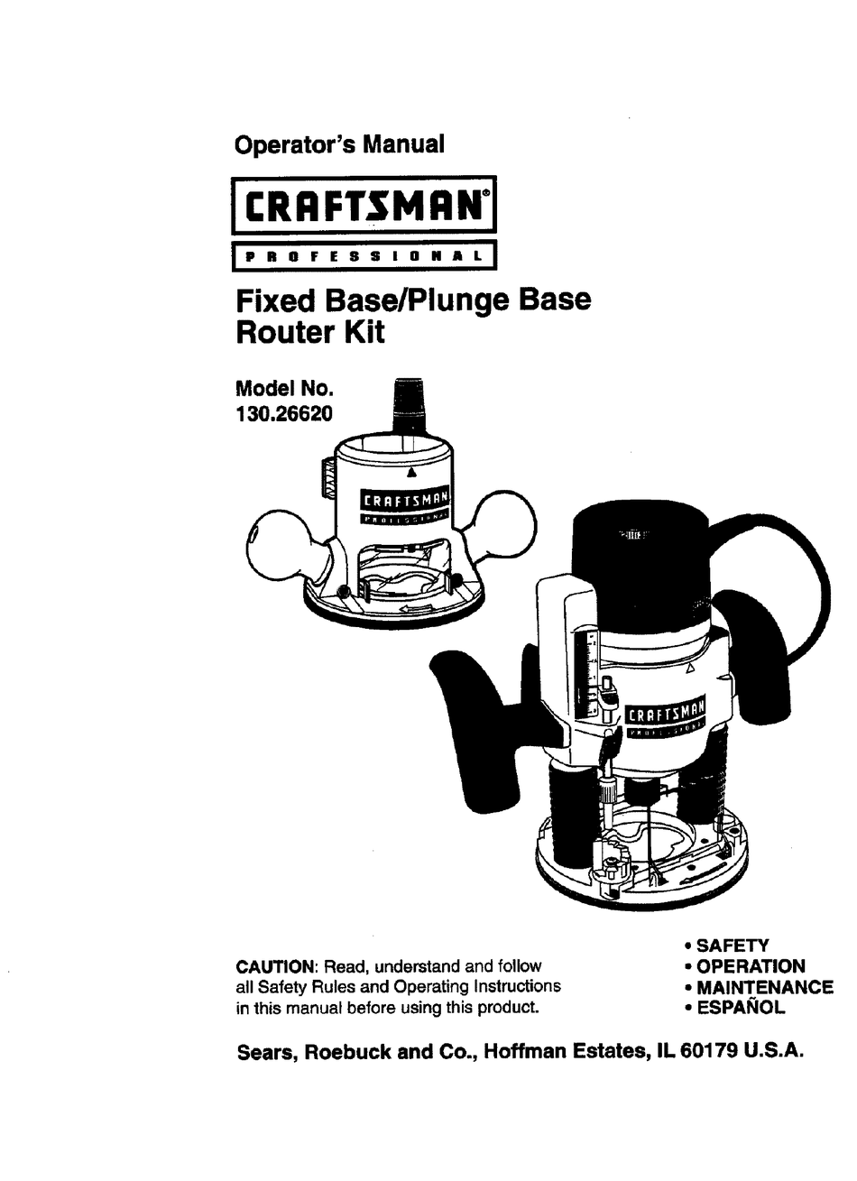CRAFTSMAN 130.26620 OPERATOR'S MANUAL Pdf Download
