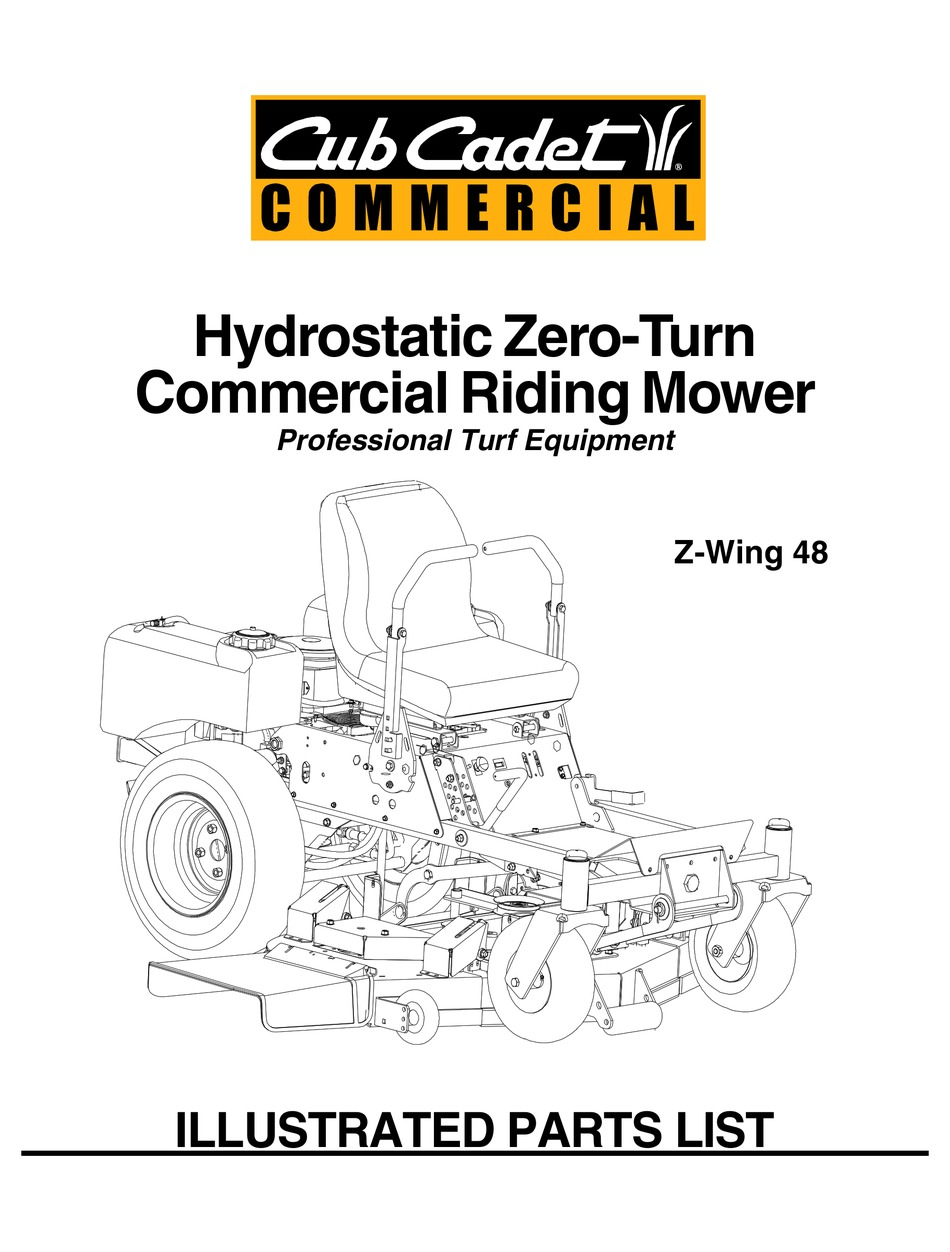 CUB CADET COMMERCIAL Z-WING 48 ILLUSTRATED PARTS LIST Pdf