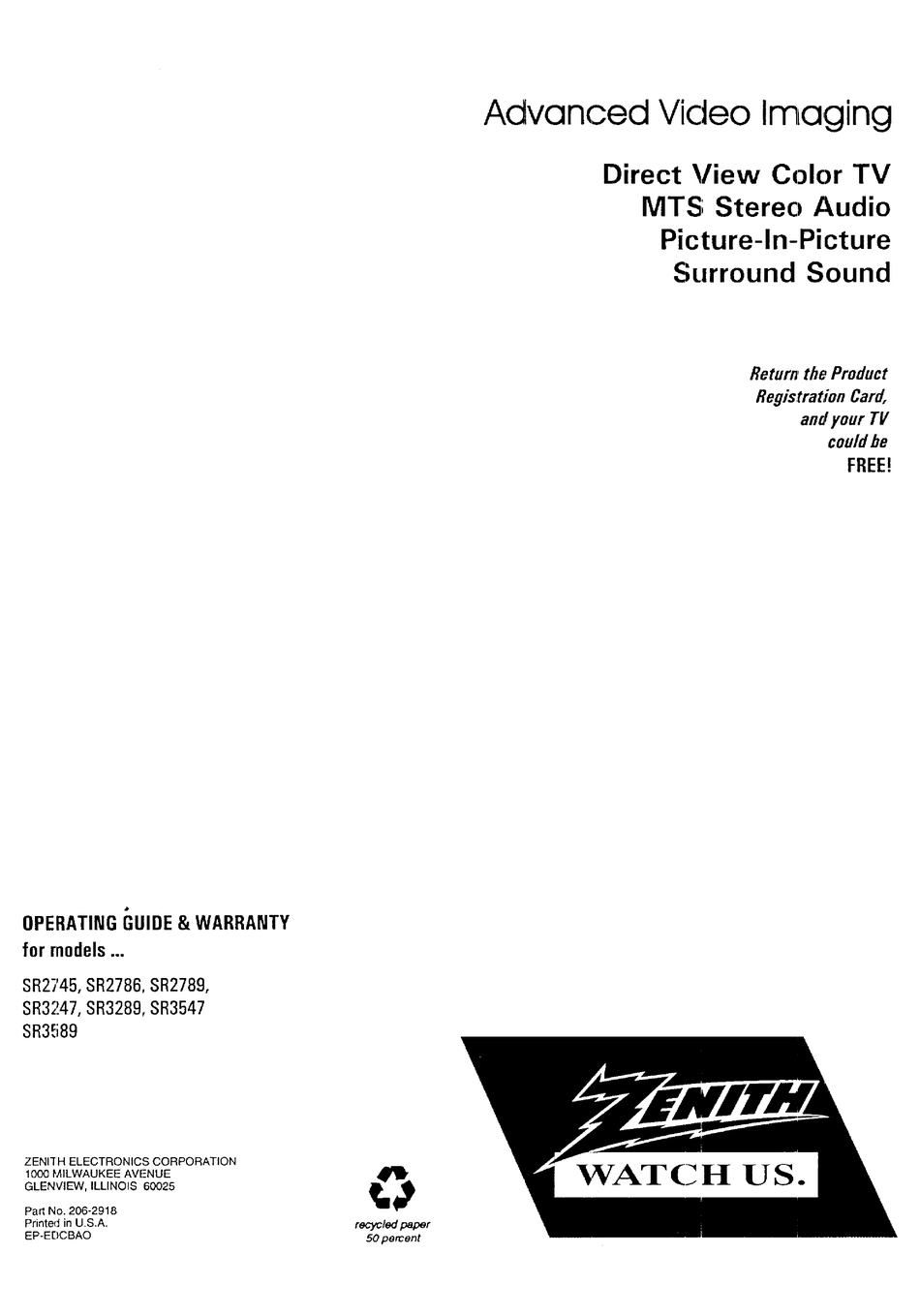 ZENITH SR2745 OPERATING MANUAL & WARRANTY Pdf Download