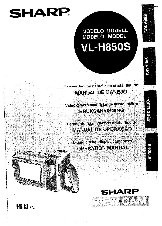 SHARP VIEWCAM VL-H850S OPERATION MANUAL Pdf Download