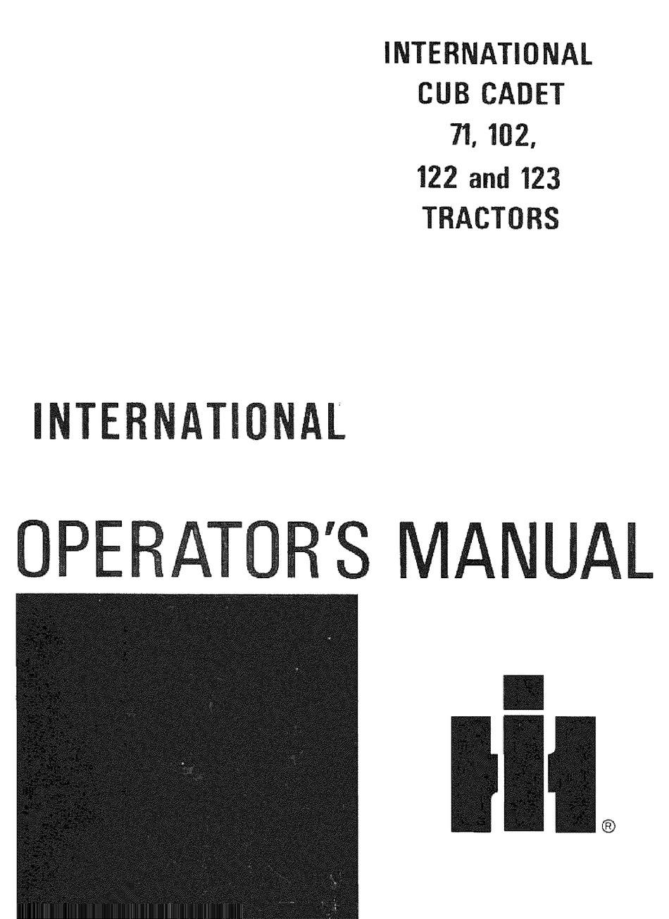 INTERNATIONAL HARVESTER COMPANY 102 OPERATOR'S MANUAL Pdf
