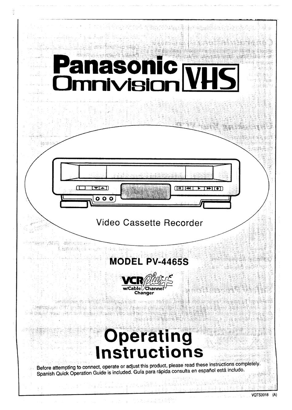 PANASONIC OMNIVISION VHS PV-4465S OPERATING INSTRUCTIONS