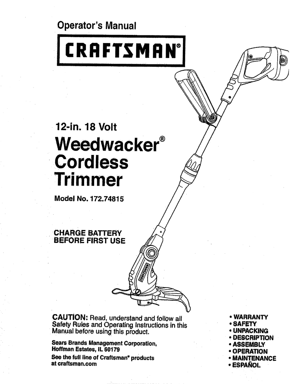 CRAFTSMAN WEEDWACKER 172.74815 OPERATOR'S MANUAL Pdf