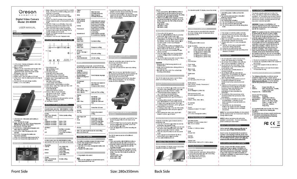 OREGON SCIENTIFIC DV-80005 USER MANUAL Pdf Download
