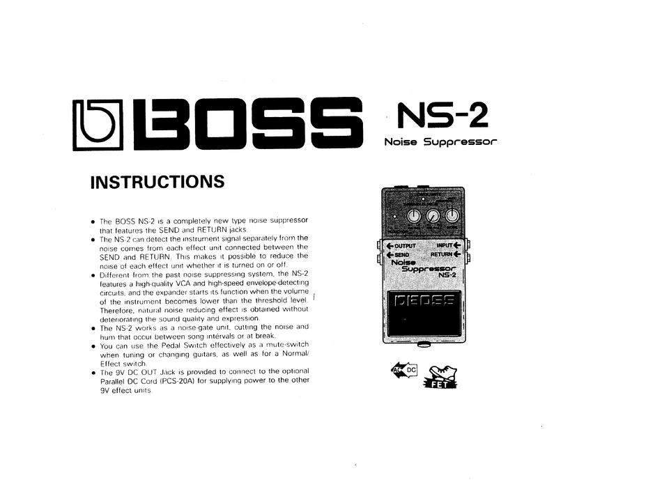 BOSS NS-2 NOISE SUPPRESSOR INSTRUCTIONS MANUAL Pdf