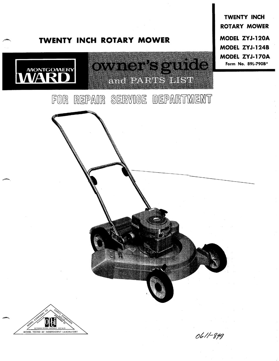 MONTGOMERY WARD ZYJ-120A OWNER'S MANUAL AND PARTS LIST Pdf