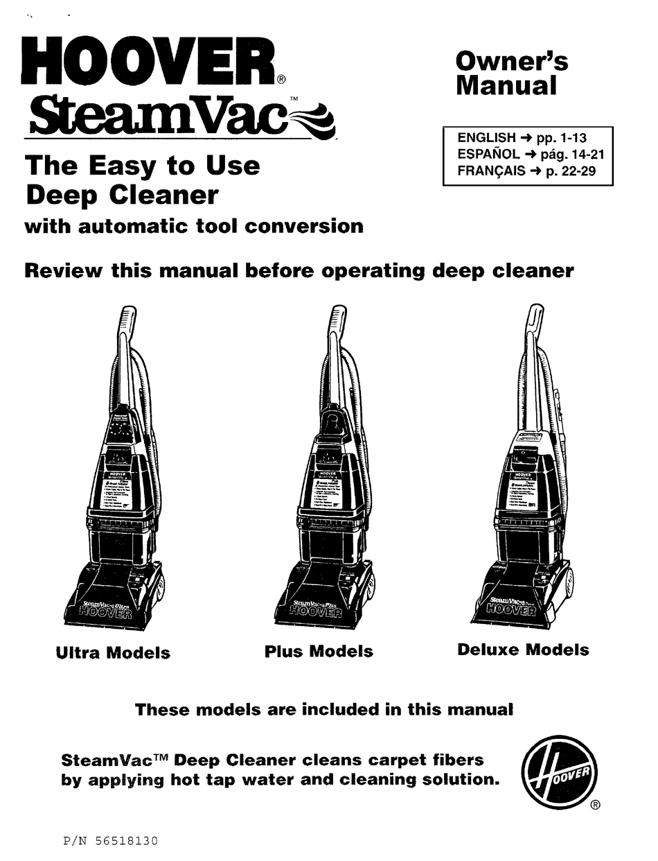 Hoover Steamvac Plus Manual Pdf : Hoover Steam Vac Spin