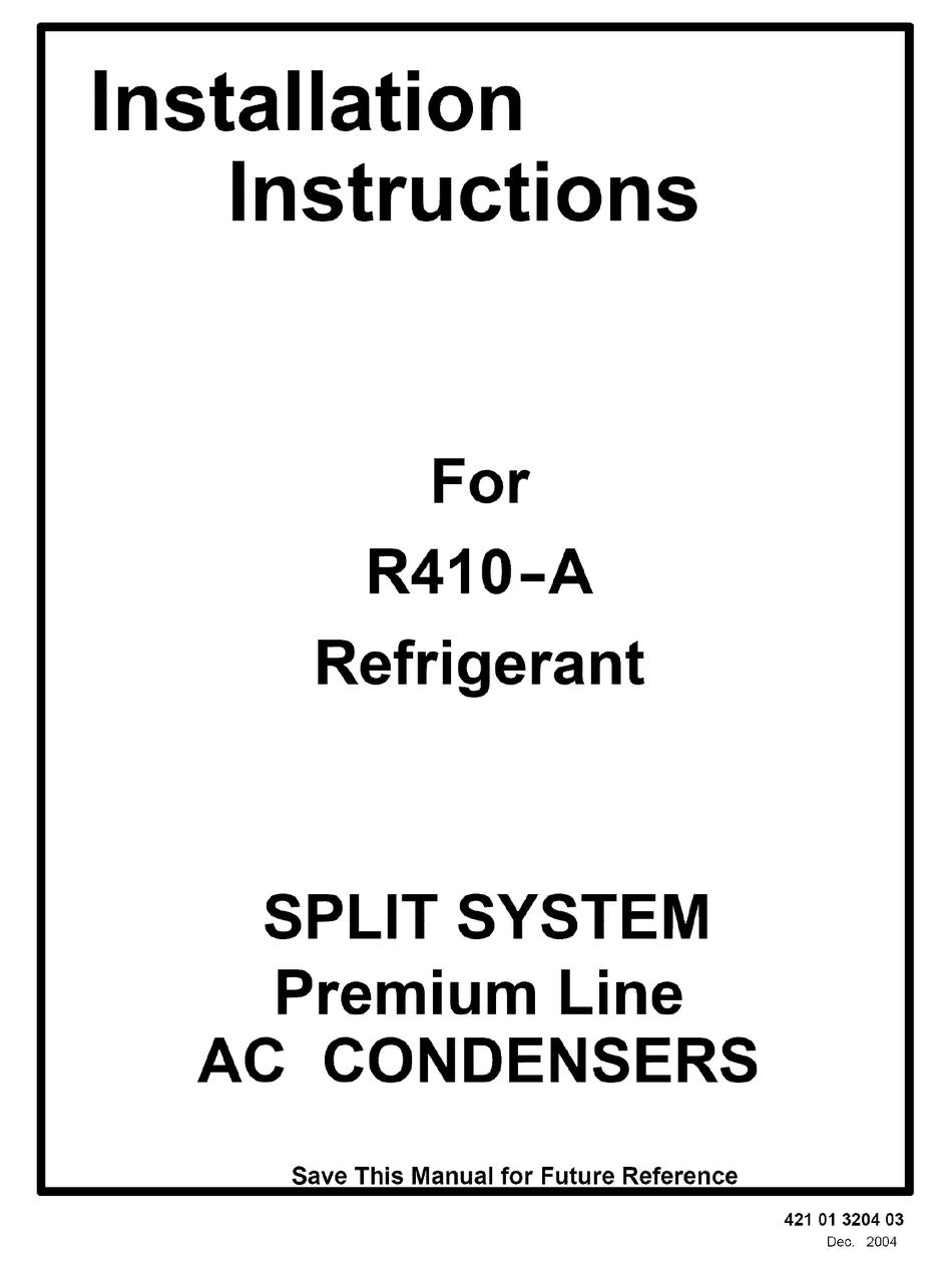 ICP R410-A REFRIGERANT INSTALLATION INSTRUCTIONS MANUAL
