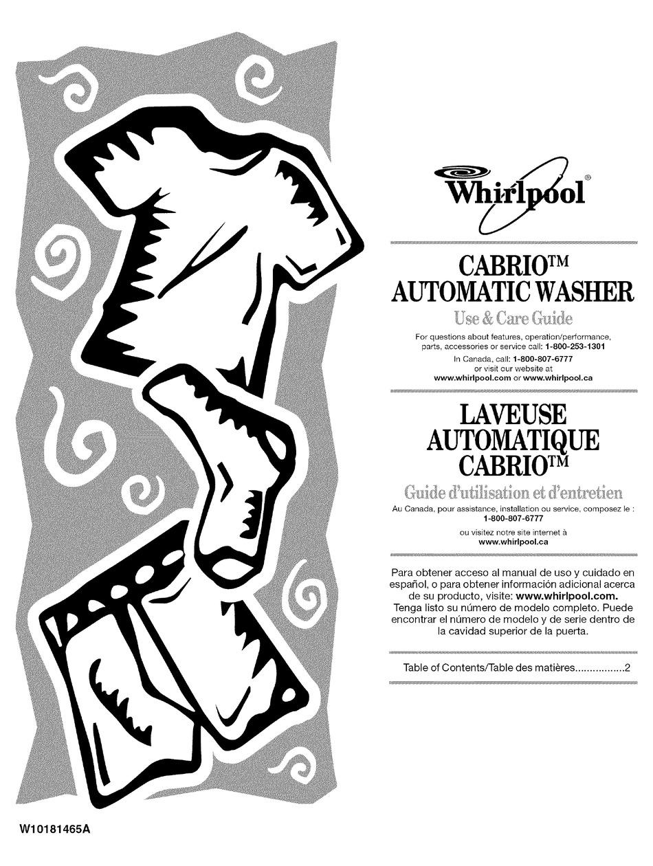WHIRLPOOL CABRIO WTW6200VW0 USE & CARE MANUAL Pdf Download