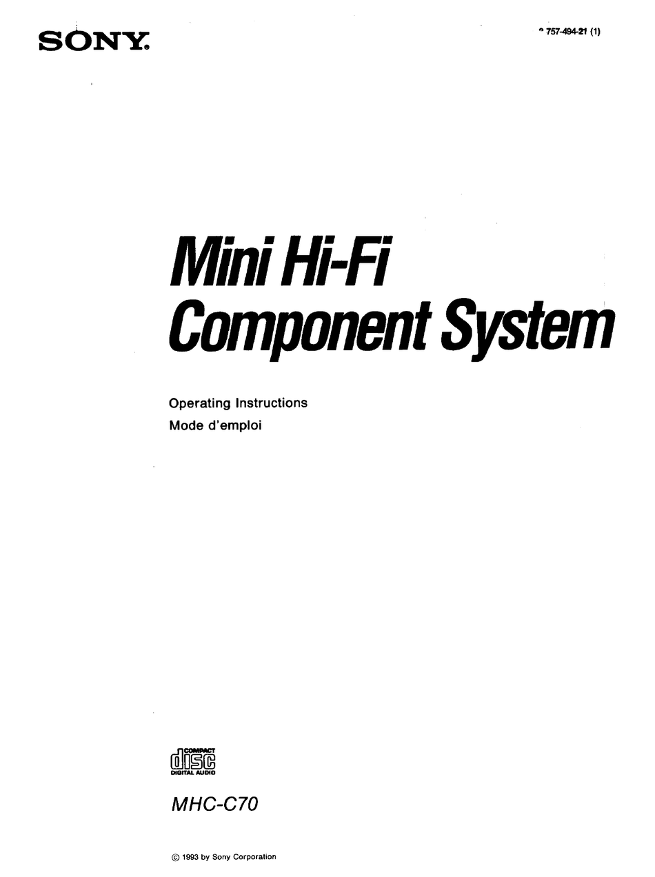SONY MHC-C70 OPERATING INSTRUCTIONS MANUAL Pdf Download