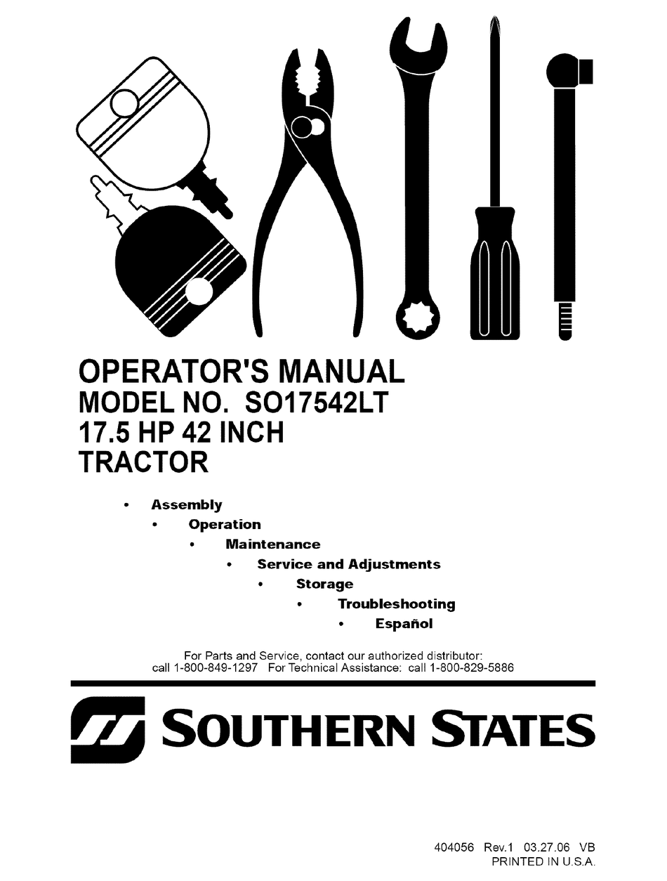 SOUTHERN STATES SO17542LT OPERATOR'S MANUAL Pdf Download