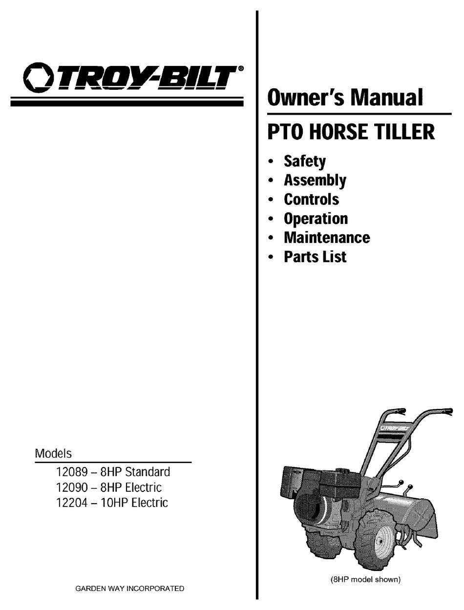 Troy Bilt Horse Parts Diagram : horse, parts, diagram, TROY-BILT, 12090, OWNER'S, MANUAL, Download, ManualsLib