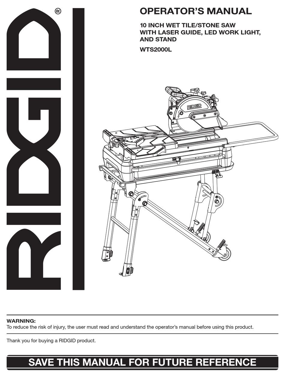 ridgid wts2000l operator s manual pdf