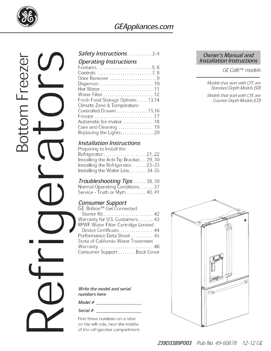 GE CAFE OWNER'S MANUAL AND INSTALLATION INSTRUCTIONS Pdf